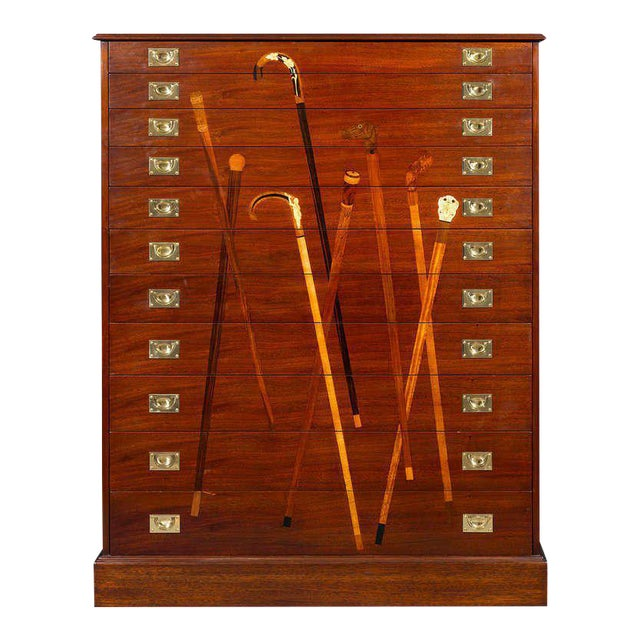 Inlaid Mahogany Cane Cabinet For Sale