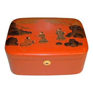 Late Qing/Republic Era Chinese Orange Lacquer Box For Sale