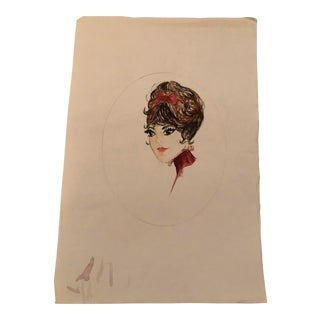 Mid-Century Modern Original Woman in a Red Bow Portrait Watercolor Painting For Sale