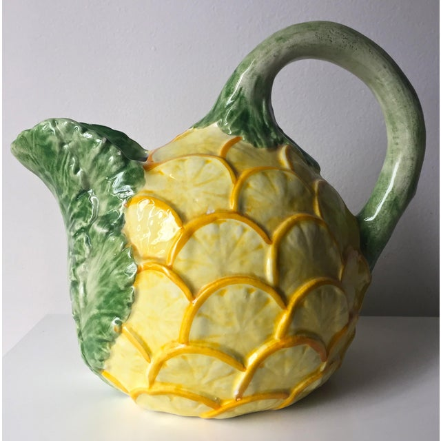 Ceramic Vintage Lemon & Cabbage Leaf Pitcher For Sale - Image 7 of 8
