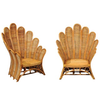 Majestic Restored Pair of Vintage Rattan and Wicker Palm Frond Club Chairs For Sale