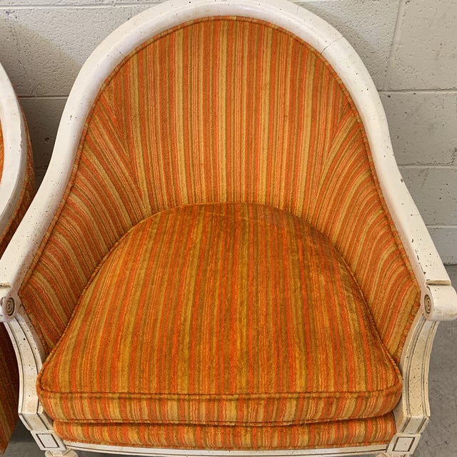 1970s Vintage French Style Barrel Back Chairs- a Pair For Sale - Image 5 of 13
