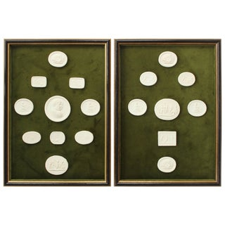 Pair of Framed Collection of Intaglios For Sale