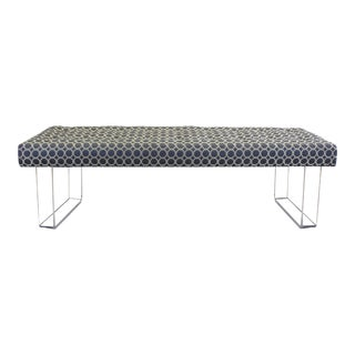 60 Inches Lucite Bench With Blue Brocade Upholstery