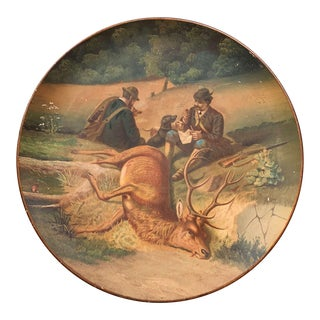 Early 20th Century German Hand Painted Ceramic Hunt Scene Wall Platter For Sale