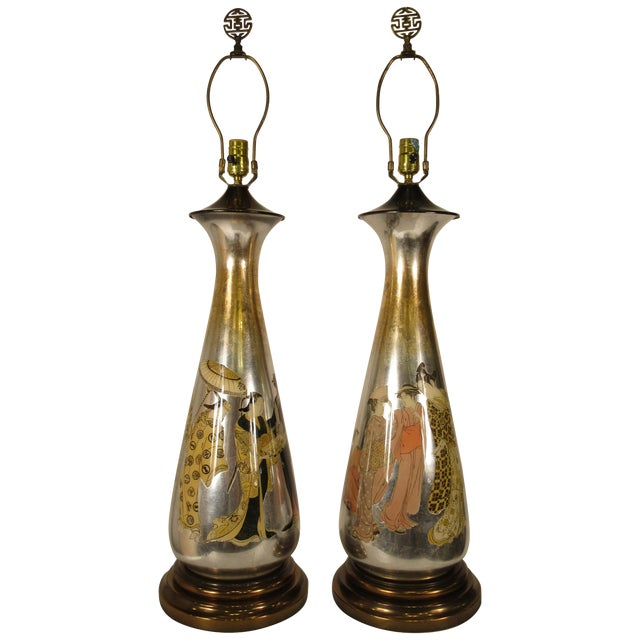 Pair of Tall 1950s Eglomise Silver Leaf Asian Lamps For Sale