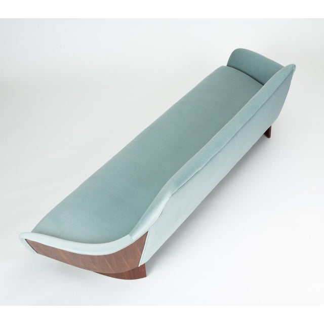 American Made Gondola Sofa in Ice Blue Velvet With Walnut Details For Sale - Image 9 of 13