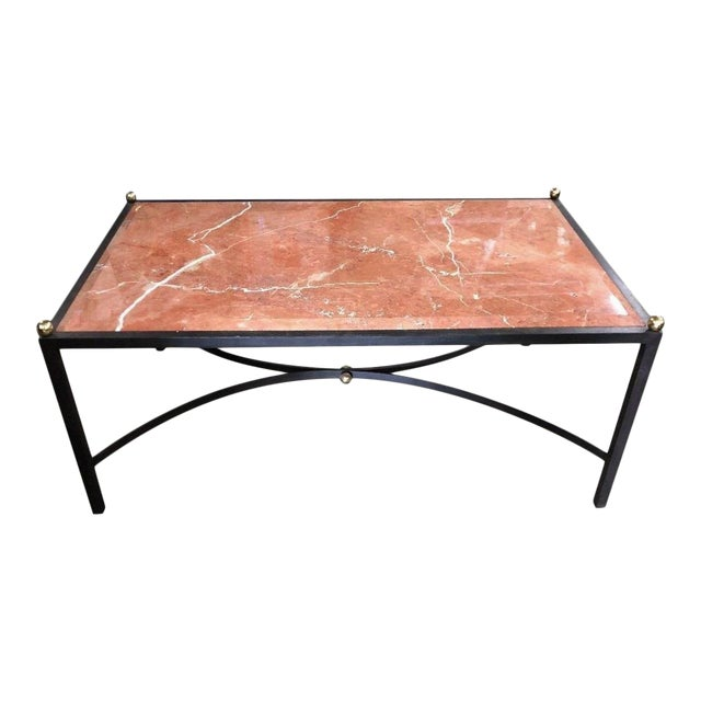 Maison Baguès Wrought Iron Coffee Cocktail Table W Beveled Sienna Marble Top For Sale