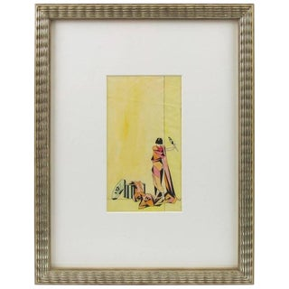 Art Deco Signed Colored Pencil on Tracing Paper Cubist Illustration Drawing For Sale