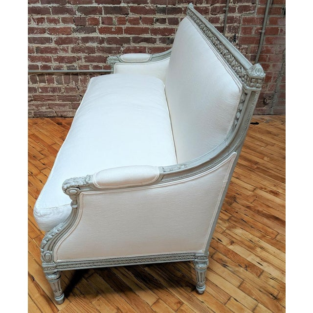 Late 19th Century 19th Century Antique Carved Frame and White Linen Settee For Sale - Image 5 of 12
