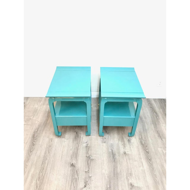 Kent Coffey Turquoise Lacquered End Tables - A Pair For Sale In Los Angeles - Image 6 of 12