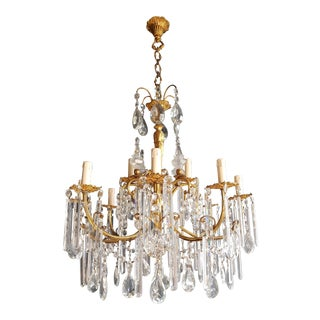 Gilded Crystal Bohemia Chandelier Antique Ceiling Lamp Lustre Art Nouveau For Sale