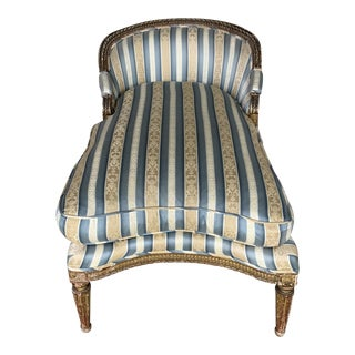 1950's Vintage Louis XVI Gilt Long Chair For Sale