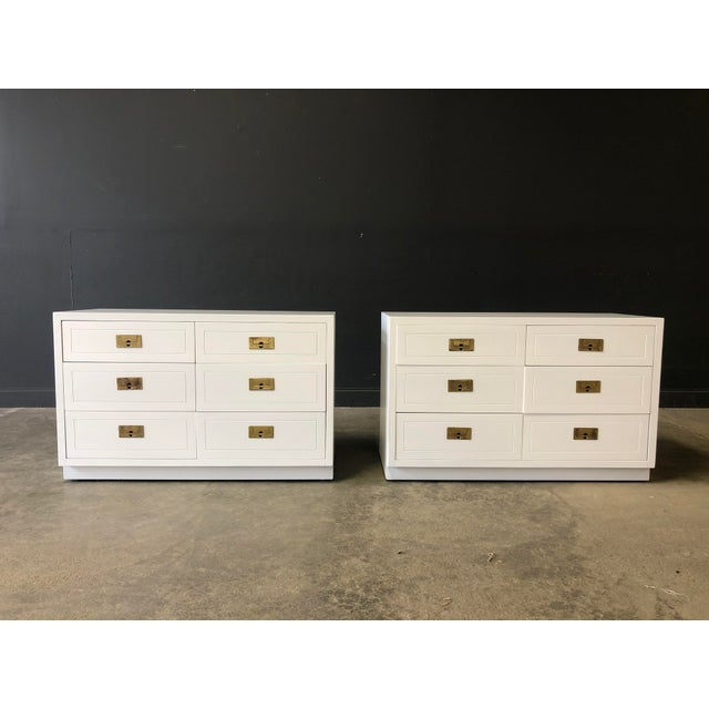 Metal Pair of White Lacquered Henredon Campaign Chests For Sale - Image 7 of 7