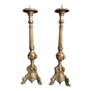Antique French Church Altar Candlesticks - a Pair For Sale