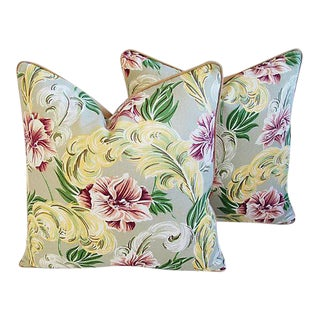 "Tropical Hibiscus Floral Print Feather/Down Pillows 24"" Square - Pair For Sale"