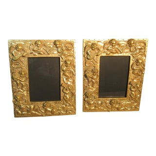Gold Picture Frames With Cherubs - a Pair For Sale