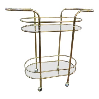 1960s Vintage Mid Century Modern Brass Bar Cart For Sale