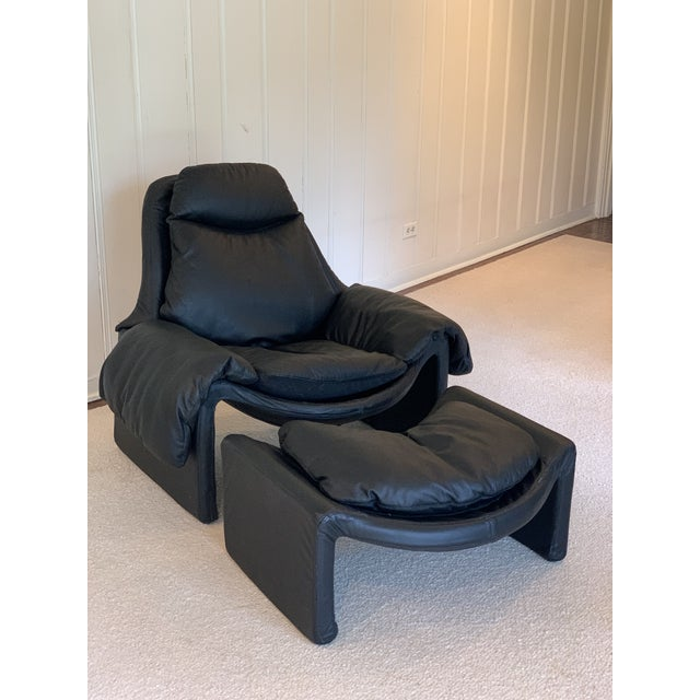 Leather Vintage Black Saporiti Lounge Chair and Ottoman by Vittorio Introini For Sale - Image 7 of 8