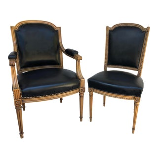1930s Simon Loscertales Bona Spain Armchair & Side Chair Louis XVI Style - a Pair For Sale
