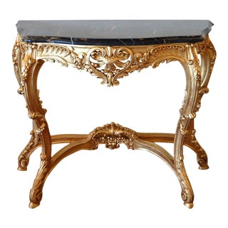 19th C. Louis XV Style Hand-Carved Gilded Console With Original