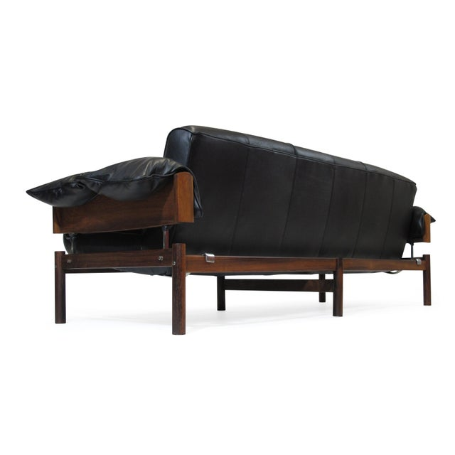 Percival Lafer Brazilian Modernist Rosewood Sofa and Chair in Black Leather For Sale - Image 10 of 13