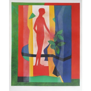 Au Jardin Lithograph by Andre Minaux For Sale