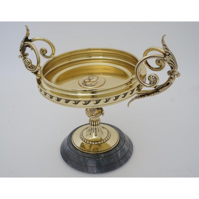 Antique Tazza Bronze on a Gray Marble Base - Neoclassical Ornamental Bowl on Pedestal For Sale - Image 10 of 11