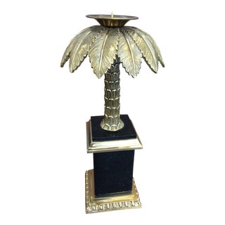 Maitland Smith Black and Gold Palm Tree Candle Holder For Sale