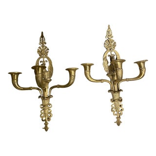 French Empire Sconces With Swans - a Pair For Sale