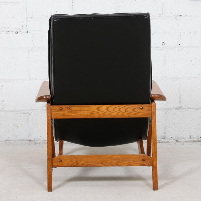 Mid-Century Modern Tufted Lounge Chair With Ottoman - Image 5 of 10