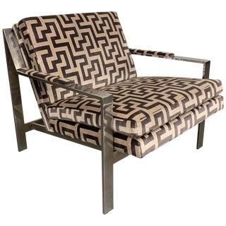 Vintage Mid Century Cy Mann Baughman Style Chrome Flat Bar Lounge Chair For Sale