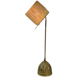 Infinitus-Vi Contemporary Tall Brass and Rattan Lamp, Flow Collection For Sale