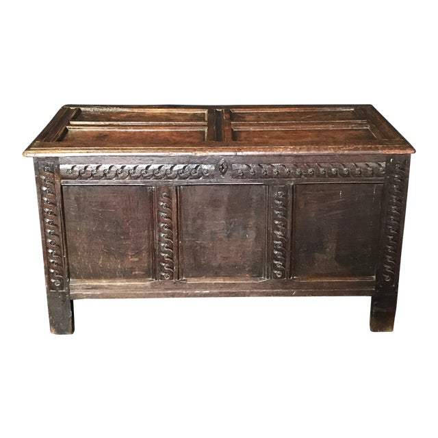 Antique 18th Century Paneled and Carved Scottish Coffer Chest For Sale
