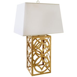 Lee Gold Steel Circle Table Lamp For Sale