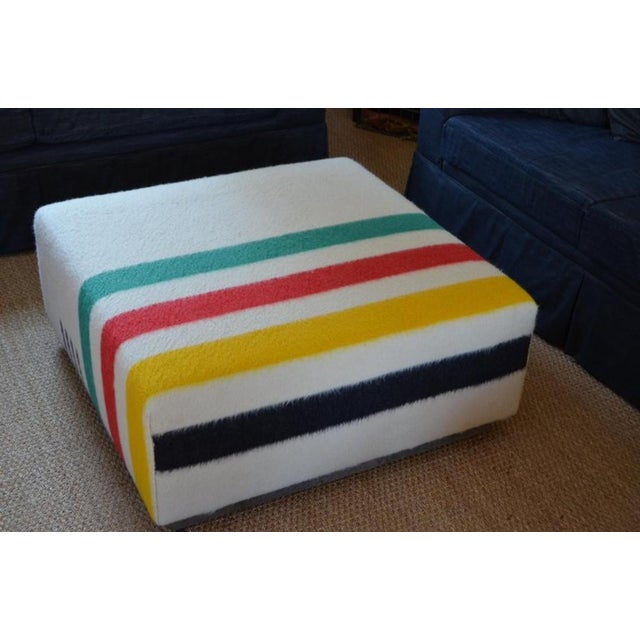 Mid-Century Modern Ottoman Coffee Table Upholstered in Hudson Bay Blanket on Barn Board Frame, Square For Sale - Image 3 of 11