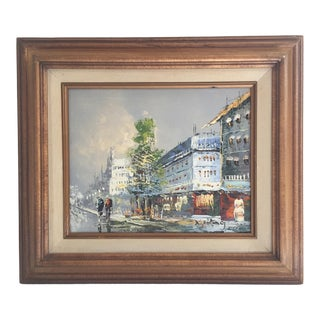 Vintage Mid-Century Paris Scene Oil Painting For Sale
