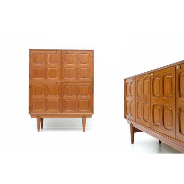 Mid-Century Modern Graphic Teak Highboard by Rastad & Relling for Bahus, Norway 1960s For Sale - Image 3 of 7