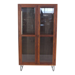 Mid-Century Modern Tall Oiled Walnut Two Doors Beveled Glass Bookcase Cabinet For Sale