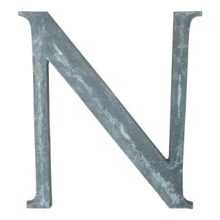 """19th Century French Cast Bronze Letter """"N"""" For Sale"""