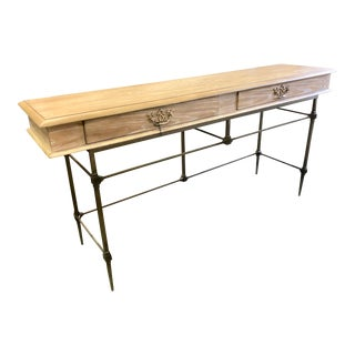 Transitional Wooden Console Table For Sale