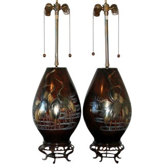 Marbro Japanese Mixed Metal Table Lamps For Sale