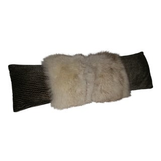 Contemporary White Fox With Silvery Green Long Lumbar Pillow For Sale