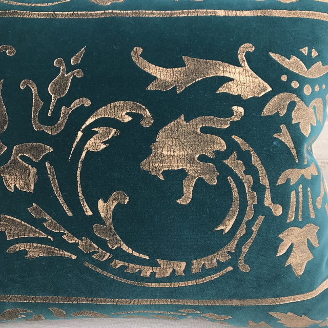 Gold Stenciled Velvet Pillows - A Pair - Image 4 of 7