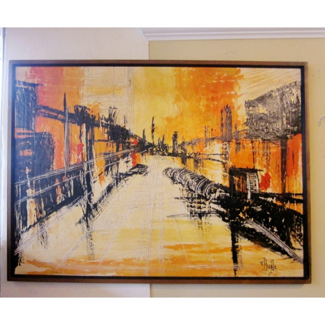 This is a bright, vibrant mid-century modern impasto style oil on canvas painting featuring an abstract landscape scene....