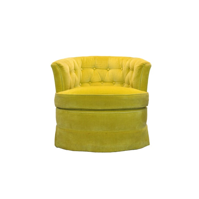 Yellow Velvet Swivel Chairs - A Pair For Sale - Image 5 of 7