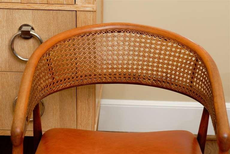 Rare Pair Of James Mont Style Bent Beech And Cane Arm Chairs   Image 7 Of
