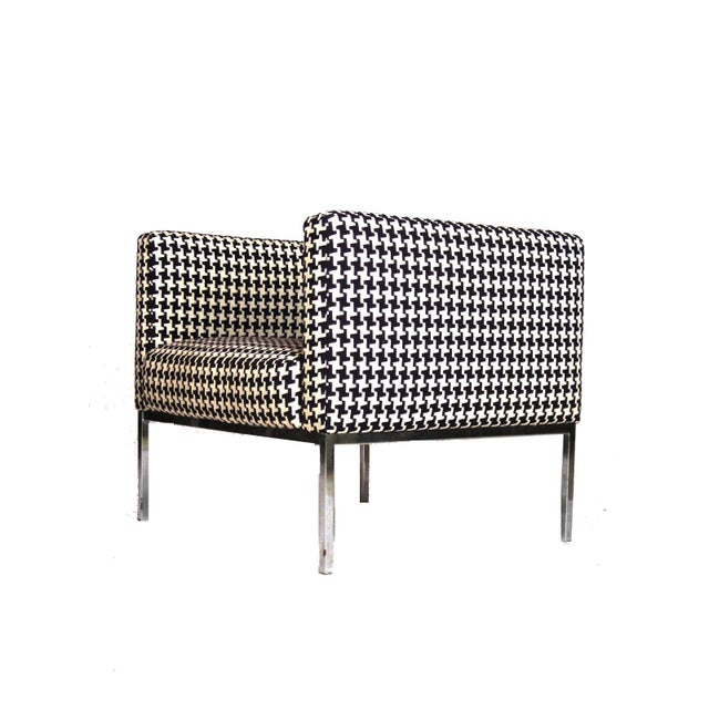 Houndstooth Chrome Club Chairs - A Pair - Image 4 of 6