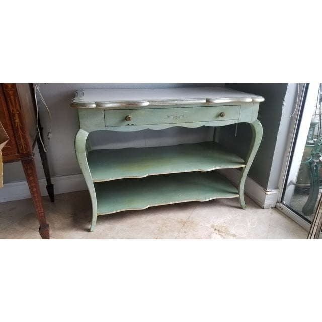 1930s Italian Florentine Painted With White Marble Top Console or Dressing Table For Sale - Image 4 of 13
