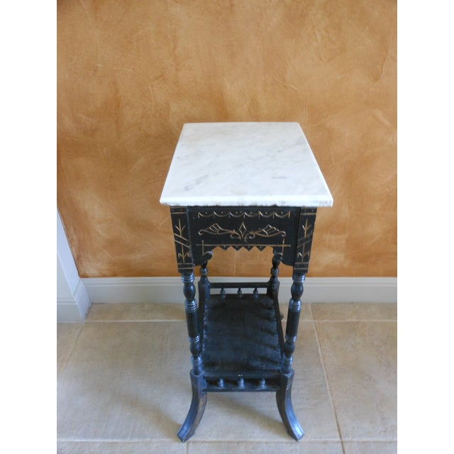 Antique Marble Top Stand - Image 4 of 4